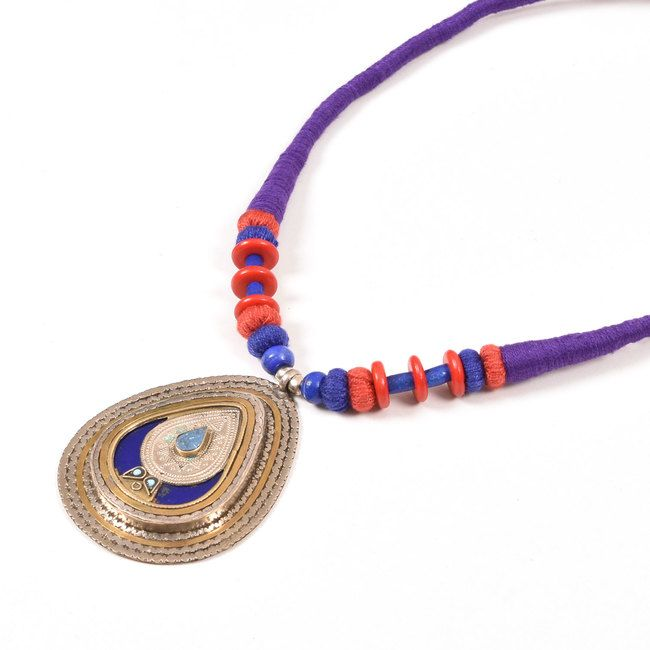 Buy online Handcrafted Violet Silk Thread Fashion Necklace with Antique Afghani Pendants 10012885