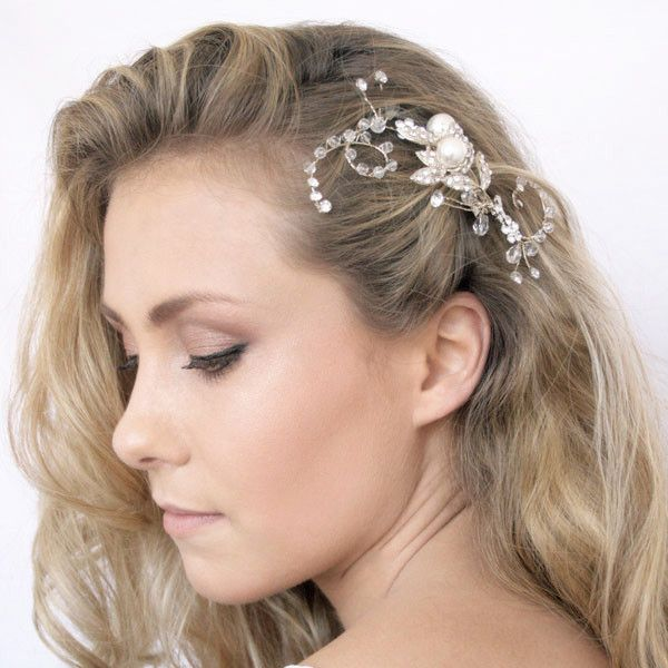 Curly Flower Hair Clip by Shop No.2 - Handcrafted Hair Clip with fine quality rhinestones, crystal beads and pearls.