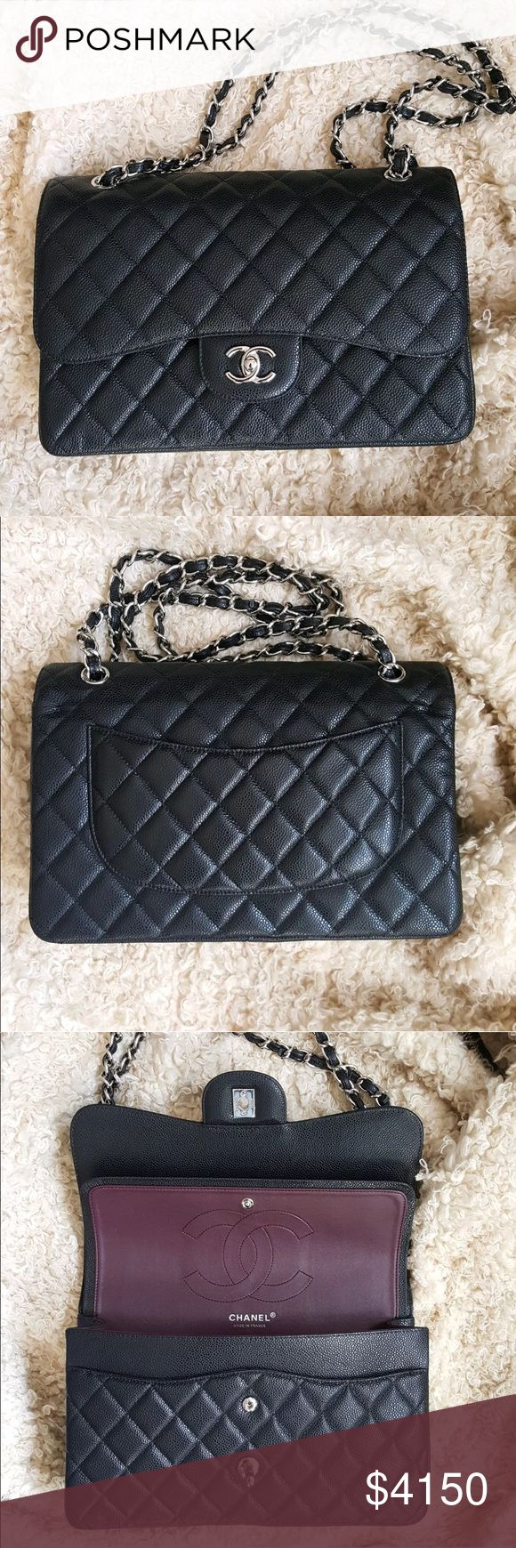 Chanel Classic Jumbo Double Flap Caviar Bag Beautiful Chanel caviar jumbo flap bag with silver hardware. Brand new without tags! Comes with the dustbag and the card of authenticity. It can fit a ton of things! Retail: $5,900. Send me an offer, I might accept! Thanks for looking! :) CHANEL Bags