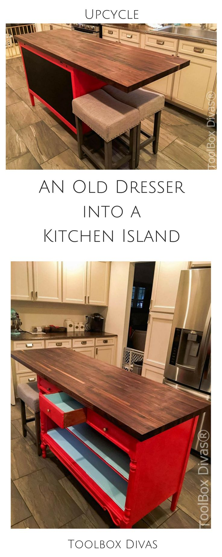 Upcycling. Convert an old dresser into a beautiful Kitchen island with a butcher...