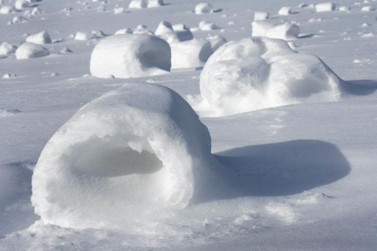 Snow rollers dot a field near Oil City, Pa., on Monday. Snow rollers are the result of an ideal combination of temperature, snow and wind.