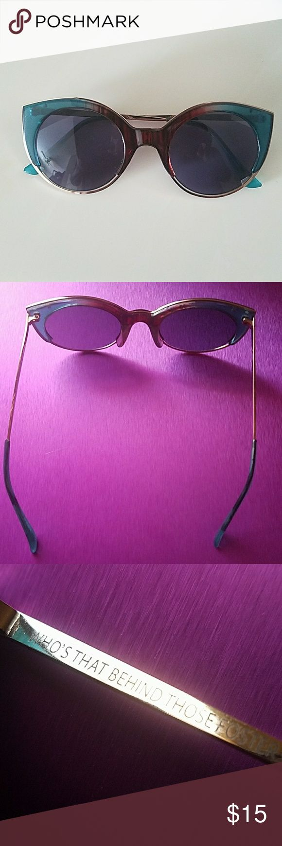 Foster Grant sunglasses Turquiose & Brown with gold wire frame. No imperfections Foster Grant Accessories Glasses