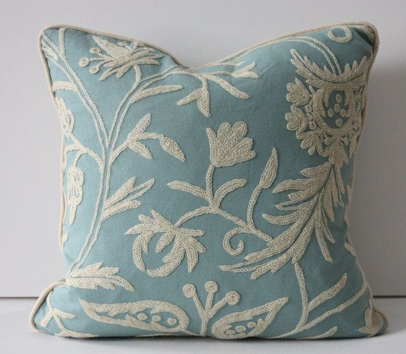 Designer Highland Court 18x18 Duck Egg Blue Aqua Cotton