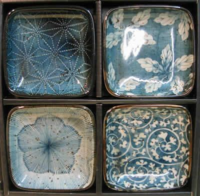 Japanese Dishes - Blue Garden Dish Set in square shapes