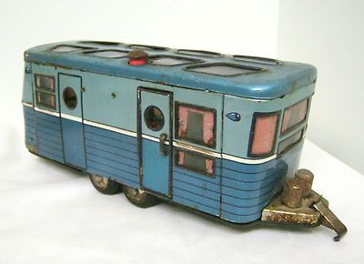Tin Litho Camping Trailer w/Interior and Skylights - Japan