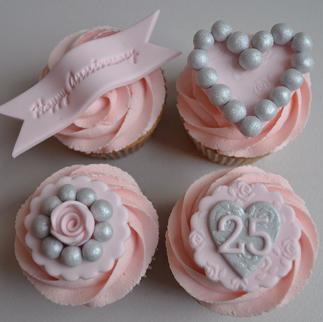 Silver Wedding Anniversary Cupcakes | Flickr - Photo Sharing!