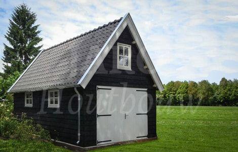 Op maat gemaakte houten schuur met oud-Hollandse dakpannen