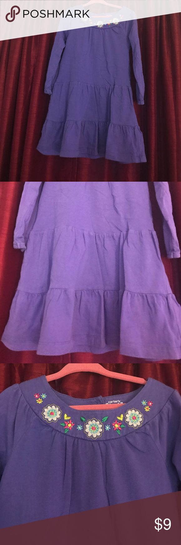 Pretty purple long sleeve dress 👗 purple long sleeve dress 👗 beautiful embroided flowers on neckline. Size 4 from Carter's. In great condition, no stains. Used only a few times as seen on pictures.  Bundle and SAVE! Carter's Dresses Casual