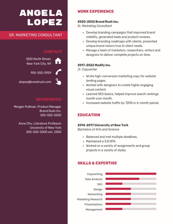 Marketing consultant simple resume template in 2020