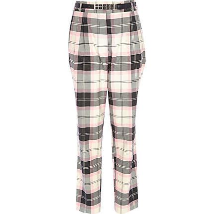 Pink check high waisted trousers $70.00