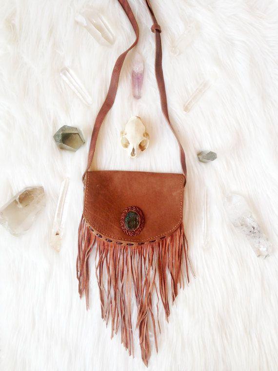 AUBURN • Boho Leather Fringe Purse • Handmade Tribal Shoulderbag • Small Hippie Chic Handbag • One of a Kind Leather Festival Bag • OOAK