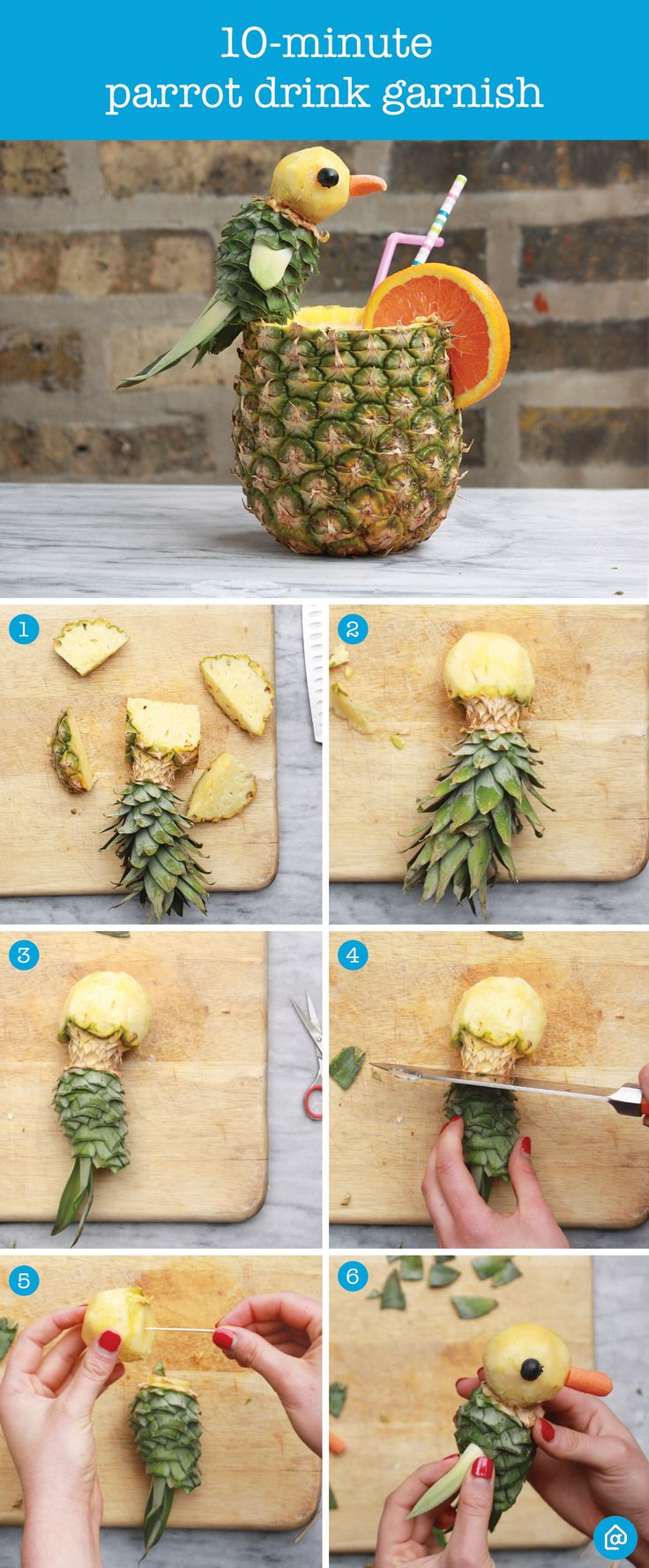 Planning a party? Preparing for Memorial Day weekend? Add a fun twist to your party garnishes with this fun and easy parrot garnish made from a pineapple. Steps: 1) Cut off the top of the pineapple 2) Round out the top to form the head 3) Slice the leaves, leaving a few at the end for the tail 4) Cut off the section between the head and body; secure with a toothpick 5) Use a toothpick to add 2 leaves for arms, 1 carrot for a nose and 2 blueberries for eyes. Enjoy with your favorite beverage!