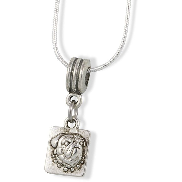 Pug on Square Charm Snake Chain Necklace