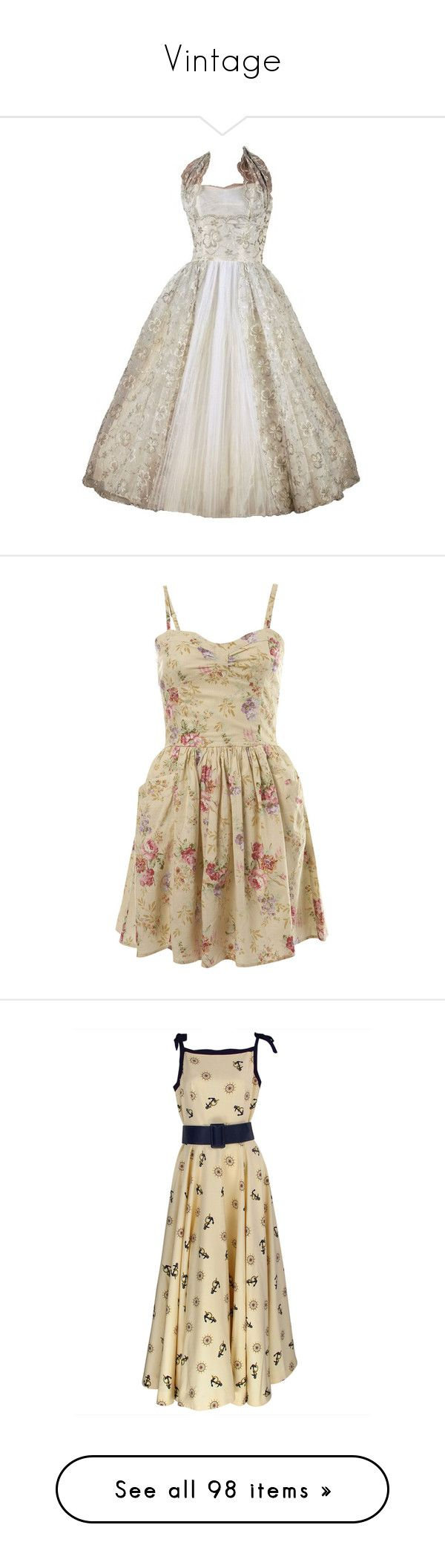 """Vintage"" by enchantedrose33 ❤ liked on Polyvore featuring dresses, vestidos, short dresses, vestiti, women's clothing, cotton mini dress, brown cocktail dress, mini dress, short cotton dress and miss selfridge"