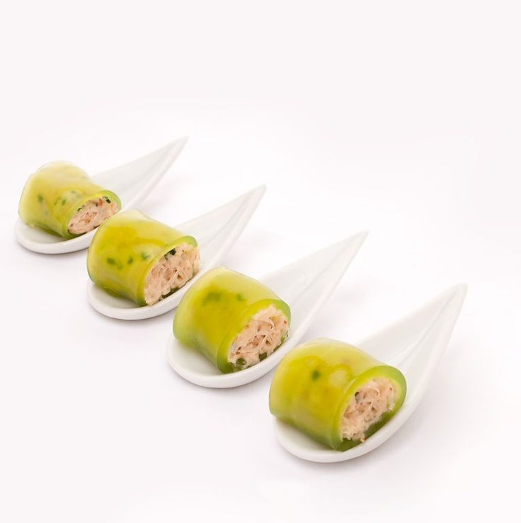 Dinner Party Nibbles Ideas Part - 30: These Cool Crab And Cucumber Jelly Canapes Look Elegant On A Simple  Porcelain Spoon. They