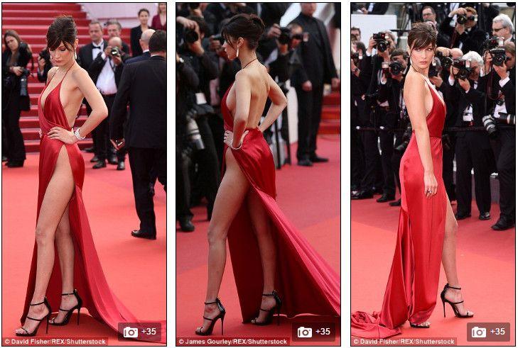 Юная топ-модель Белла Хадид шокировала всех своим откровенным красным нарядом на 69-м Международном кинофестиваль в Каннах #modnakraina #моднакраина #канны