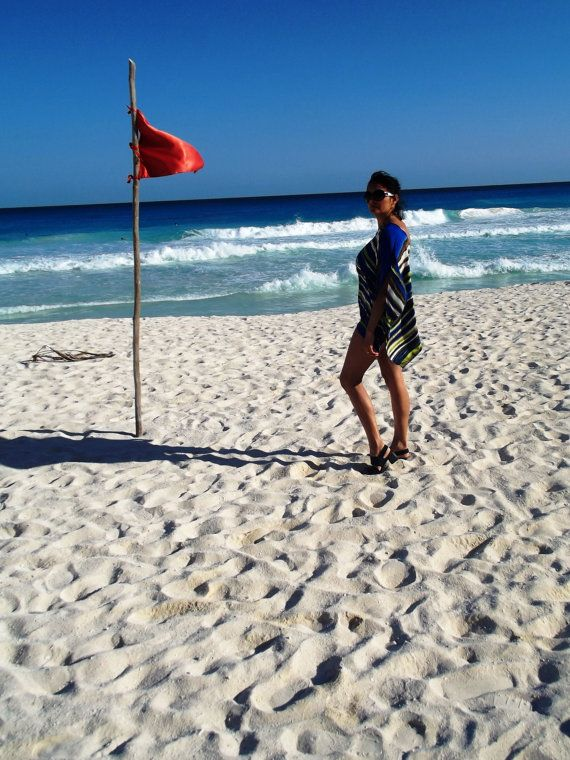 Beach PonchoSilky Blue Green Brown Stripe Limited by UchiWraps