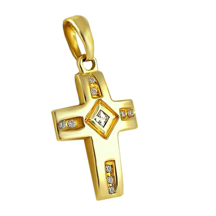 ΣΤ128Τ Χρυσός βαπτιστικός σταυρός