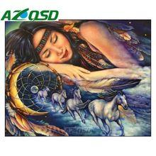 Azqsd diy volledige vierkante boor diamant schilderen kruissteek indiase meisje diamant borduurwerk mozaïek schilderij woondecoratie bb4678(China (Mainland))