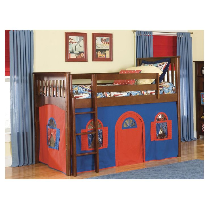 Mission Low Loft Bed with Tower Tent and Curtains (Twin) - Bolton Furniture,