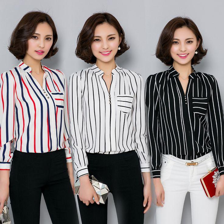 Plus size women clothing tops 2016 black white red striped chiffon shirt women's slim long sleeve shirts female OL work blouses