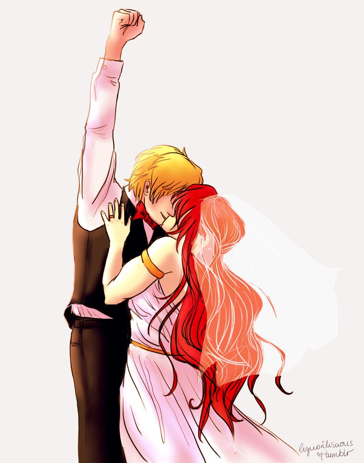 """dont look at me just been having them pyrrha x jaune wedding feels pyrrha is the best thing that happened to jaune and he knows it """"don't repost, there's a reblog button for a reason (+credit on other..."""
