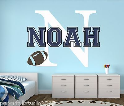 Custom Football Name Wall Decal   Baby Room Decor   Sports Wall Decal Vinyl