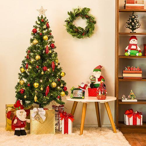 Árvore Tradicional Verde 1,5m + Pisca 100 Lâmpadas LED Branco Quente Fio Verde 220V + Conjunto de Enfeites Vermelhos e Dourados 39 Peças + P - 129,99