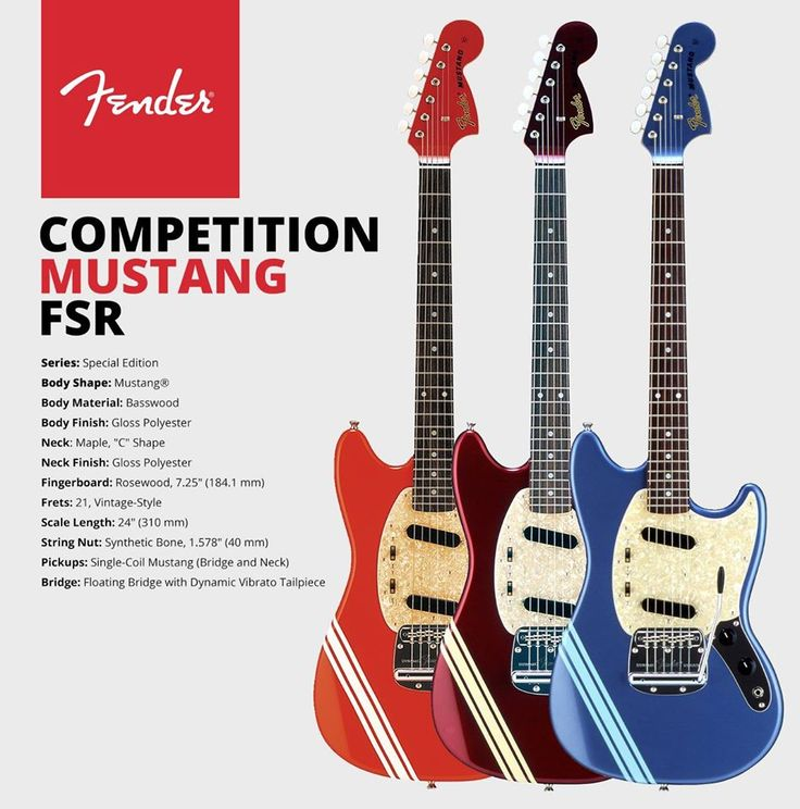 "Fender UK & ROI Mustang competition Fender Special Run (FSR) basswood body, maple neck with rosewood fingerboard and the ""Dynamic"" vibrato with floating bridge."