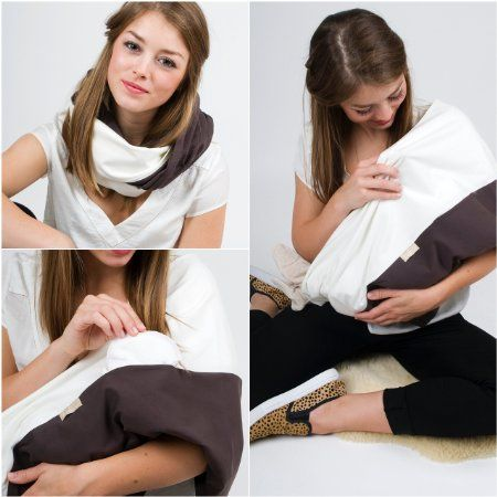 """La sciarpa allattamento grigio motivo """"White Coffee"""", taglia S-M"""