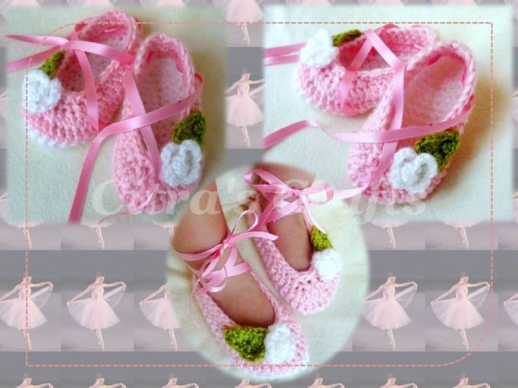 Pink Ballet baby shoes crochet