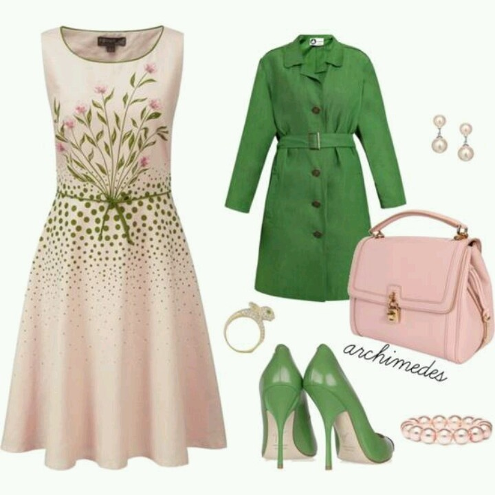 Simple, classic look. Khaki, green and pearls