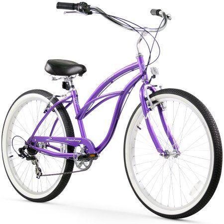 26 inch Firmstrong Urban Lady Seven Speed Women's Beach Cruiser Bike, Purple