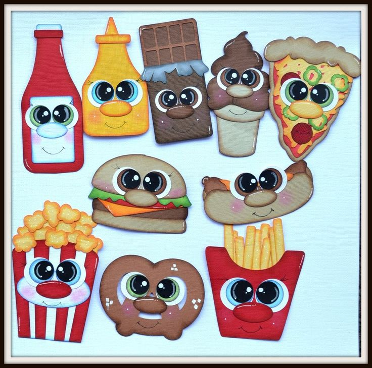 Elite4u Shoppies Paper Piecings for Premade Scrapbook Page Layout Food