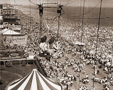 Photo of Coney Island as seen from the parachute jump. The parachute jump was built for the 1939 New York World's Fair in Flushing Meadows Park, Queens, and moved to its current site, then part of the Steeplechase Park amusement park, in 1941. It is the only portion of Steeplechase Park still standing today. The ride ceased operations in 1968.