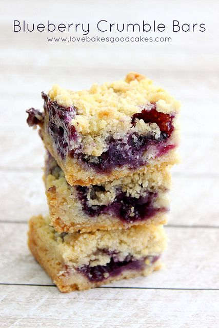 Blueberry Crumble Bars - the perfect way to use those Summer berries! Easy and delicious! #blueberries #bars #desserts by lovebakesgoodcakes...