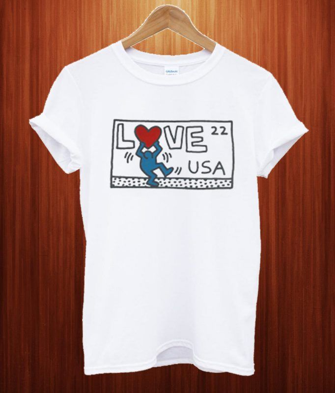 723e2cfb19 Keith Haring Love USA T Shirt | T-Shirt invinitees | Keith haring, T ...