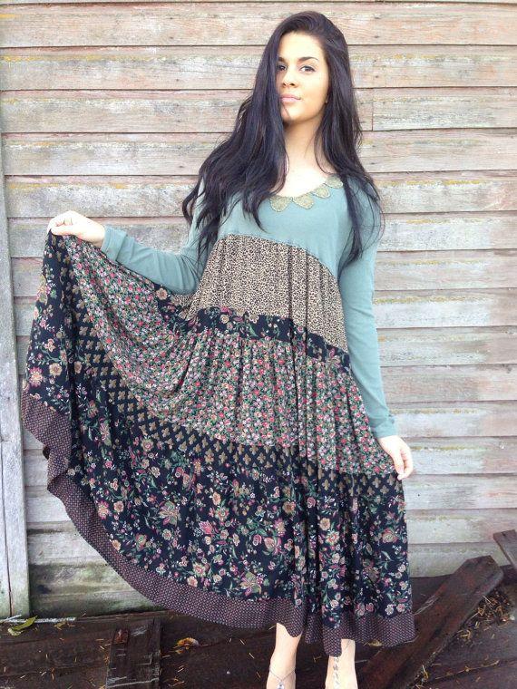 Cecelia dress-medium large-artsy-Eco clothing-upcycled