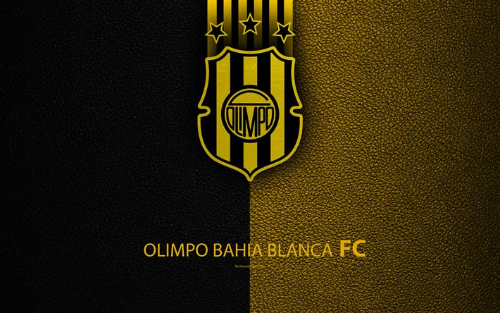 Download wallpapers Club Olimpo, 4k, logo, Bahia Blanca, Argentina, leather texture, football, Argentinian football club, Olimpo FC, emblem, Superliga, Argentina Football Championships, First Division