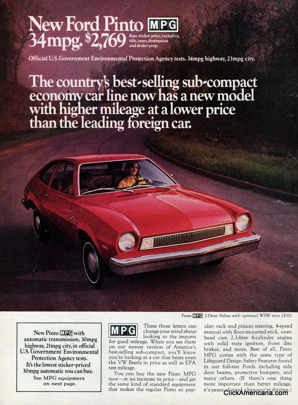1975 Ford Pinto Adver Vintage Car Ads Pinterest And Cars