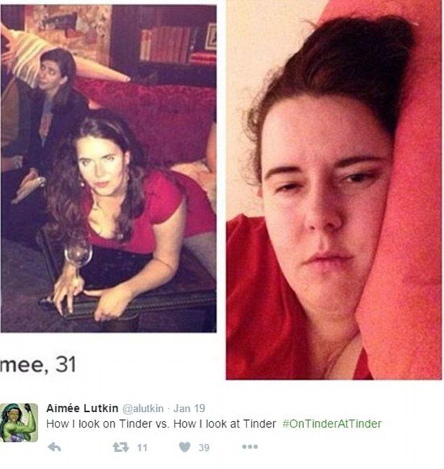 Aimee Lutkin struck a seductive pose in her Tinder profile but her 'real life' shot wasn't quite as flawless
