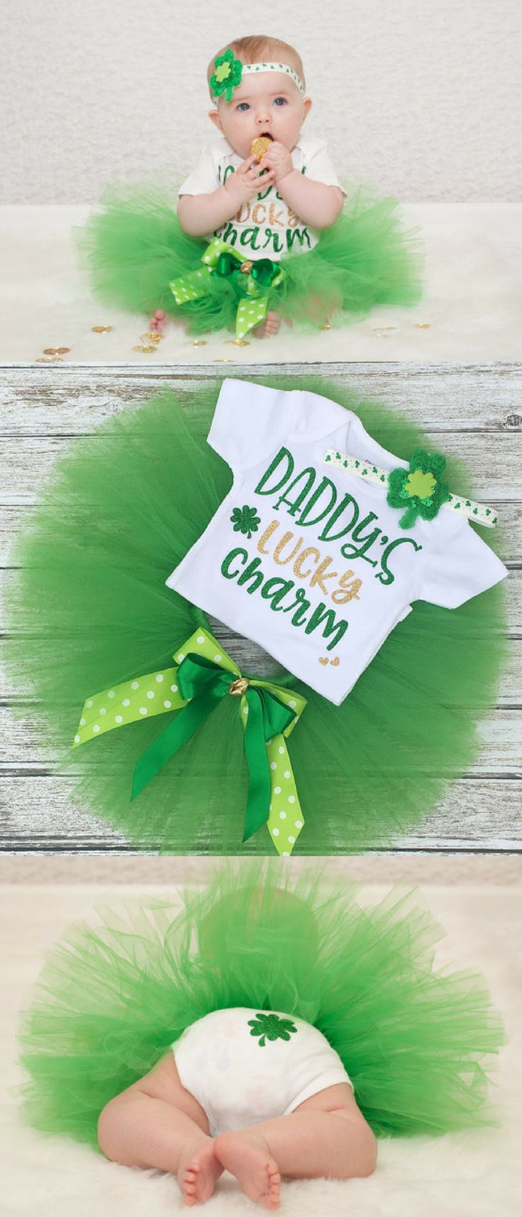 Love this little baby girl tutu outfit for St Patrick's Day! Daddy's lucky charm.... so cute! I totallly love the shamrock on the butt too, that's hilarious! #affiliate