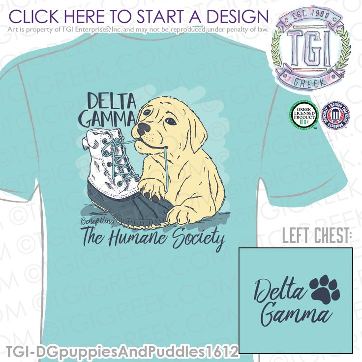 Delta Gamma | DG | ΔΓ | PR | Sorority Philanthropy | Puppy Philanthropy | Philanthropy Shirt | TGI Greek | Greek Apparel | Custom Apparel | Sorority Tee Shirts | Sorority Tanks | Sorority T-shirts