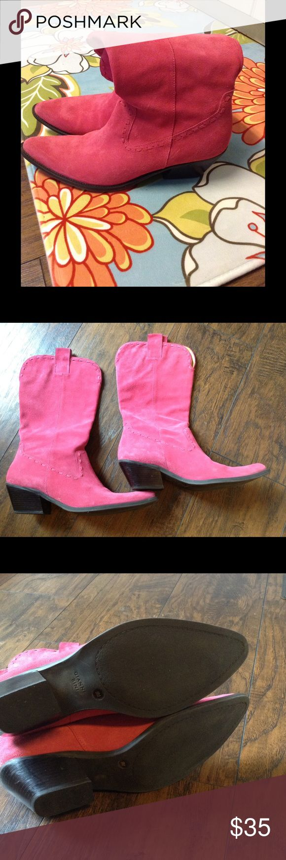 Gianni Bini Pink Suede Cowgirl Boots Size 9 Worn once. Has some darkening around the very top from storing. Clean toe box. Bottoms show little to no wear. Cute detail. Suede. Super cute for summer dresses. Preowned so please expect the described wear as noted. Gianni Bini Shoes Heeled Boots