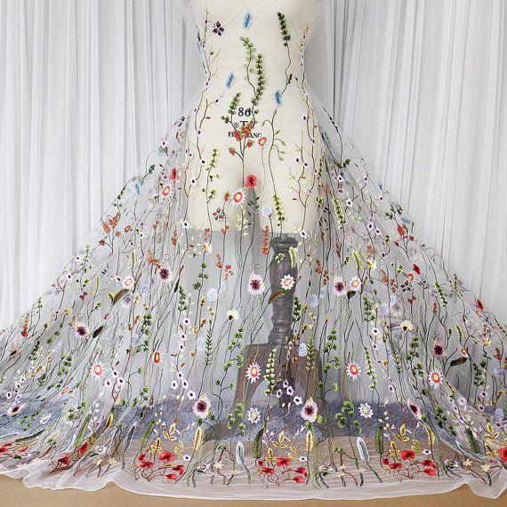 Mode kant stof met multicolor bloem, Embroidered lace Franse kant bruids lace bruiloft lace avondjurk kant Lingerie lace Skirt Lace