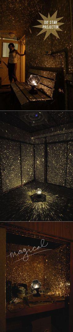 a DIY star projector for night time mood lighting Tutorial de como hacer ua lampara proyector de estrellas