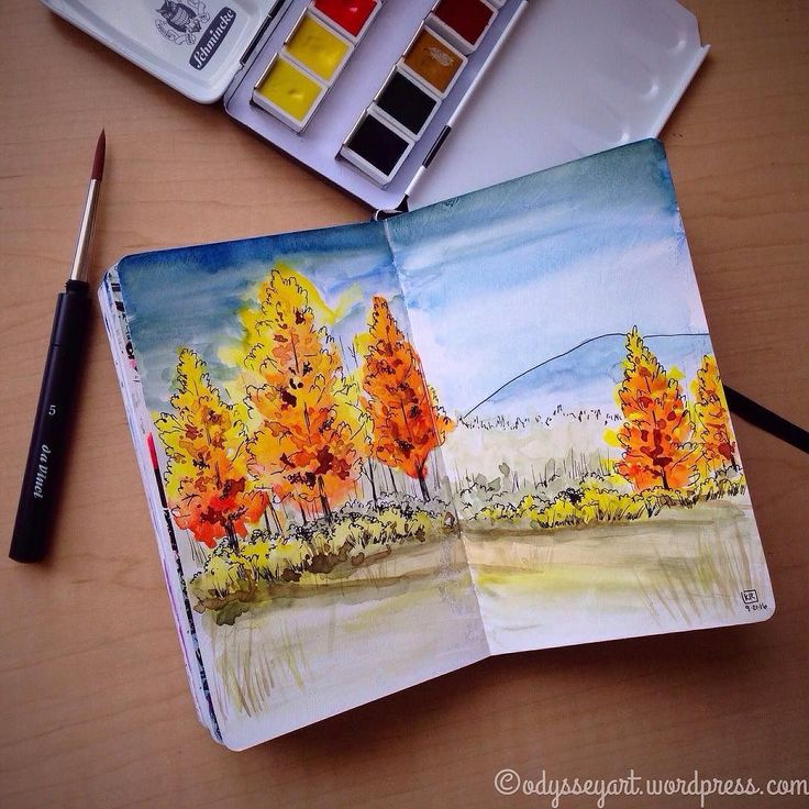 Testing my new #schmincke travel palette by honoring the first day of autumn with some fall colors.  These Schmincke watercolors are like butter. You do not have to work the cakes at all to get pigment to lift. Its like a dream. Very glad to have these!  Schmincke Horadam watercolors and Sakura micron pen in pocket Leuchtturm1917 prepped with Liquitex white gesso.  #doodleeveryday #dailydoodle2016 #odysseyartdoodles #odysseyartart #odysseyartwatercolors #illustration #art  #sketch…