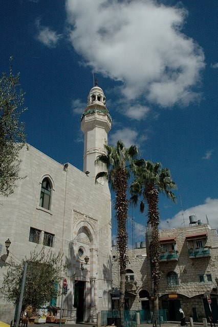 The Mosque of Omar (Arabic: مسجد عمر) is the oldest and only mosque in the old city of Bethlehem, located in Manger Square.  HistoryThe mosque is named after Hazrat Umar ibn al-Khattab (c. 581–644), the second Rashidun Muslim Caliph. Having conquered Jerusalem,Hazrat Omar had traveled to Bethlehem in 637 CE to issue a law that would guarantee respect for the shrine and safety for Christians and clergy.