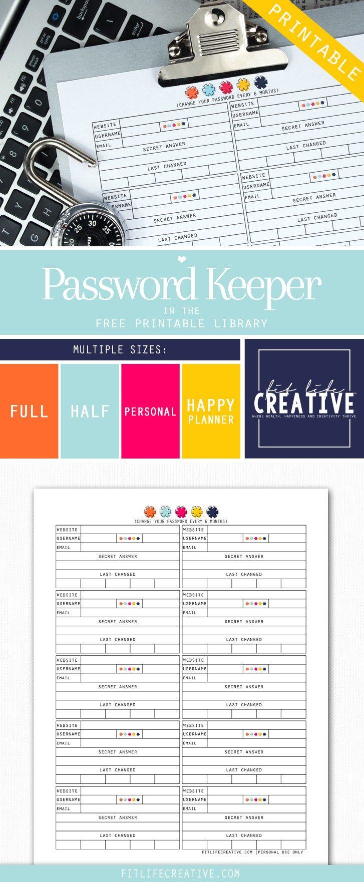 Free printable Password Keeper planner insert. Available in multiple sizes including Full page, half page, personal size and Happy Planner sizes.