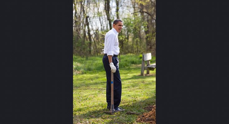 Obama participates in a national service project at Kenilworth Aquatic Garden in Washington on April 21, 2009.